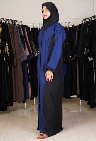 Black Abaya With 3D Leaves on Sleeves