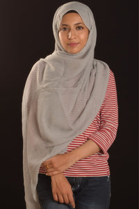 Silver Pearl Cotton Pleated Hijab - Fakhur