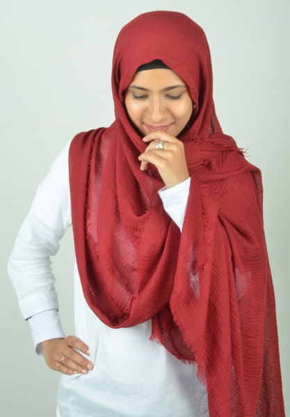 Wine Red Wrinkle Hijab - Fakhur
