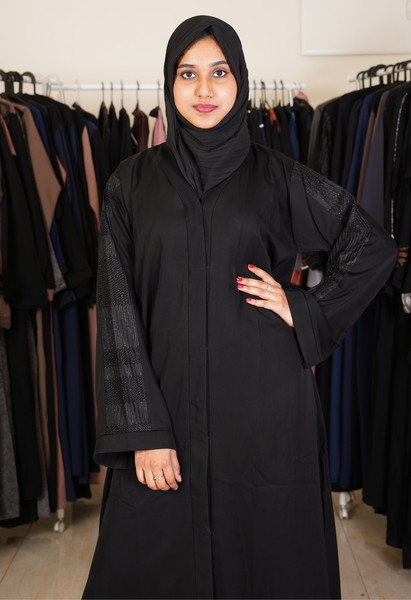 Basic Black And Mauve Abaya (Front Open)