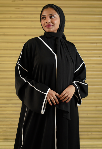 Black Abaya With White Strips