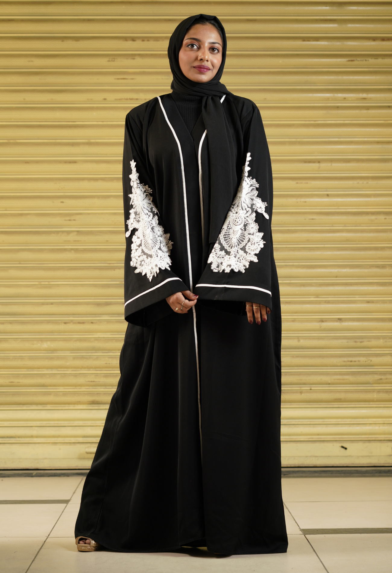 Black Abaya With Designer Patch on Sleeves (Front Open)