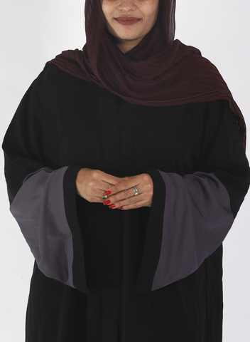Black and Grey Half Body Abaya (Front Open)