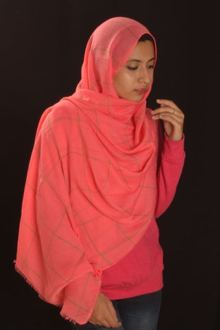 Hot Pink Grid Hijab - Fakhur