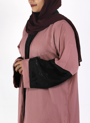 Rose Crinkle Abaya With Black Sleeves( Front Open)