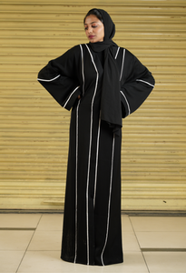 Black Abaya With White Strips on Both Sides (Front Open)