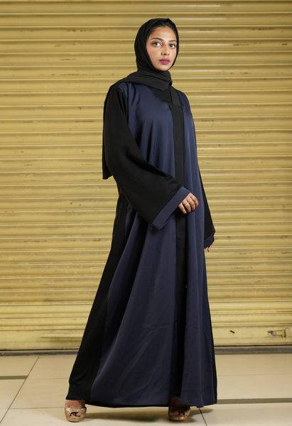 Two Tone Abaya, Navy Blue And Black (Front Open)
