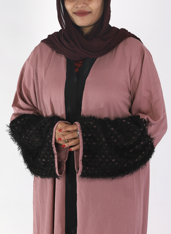 Rose Crinkle Abaya With Fur On Sleeves( Front Open)