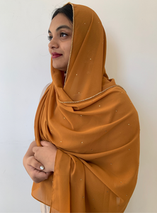 Burnt Orange Rhinestone Hijab - Fakhur
