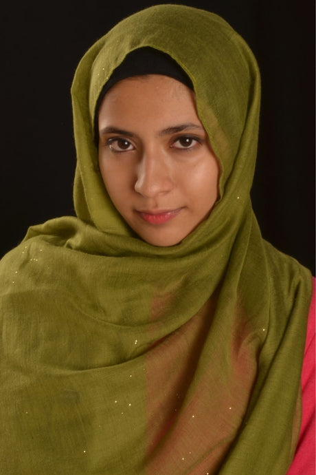 Green Hijab with Glitters