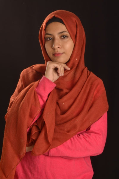 Rust Hijab with Glitters - Fakhur