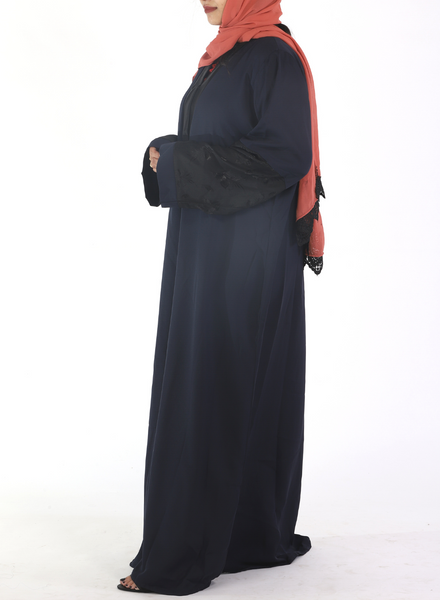 Navy Blue Abaya With Half  Floral Black Sleeves (Front Open)