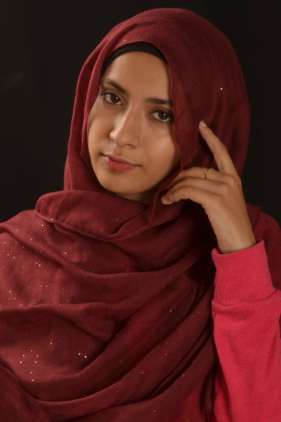 Maroon Hijab With Glitters - Fakhur