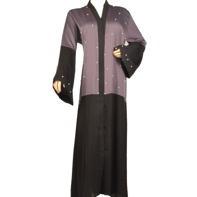 Grey N Black Half Body Abaya( Front Open)