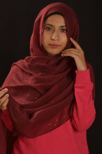 Maroon Hijab With Glitters