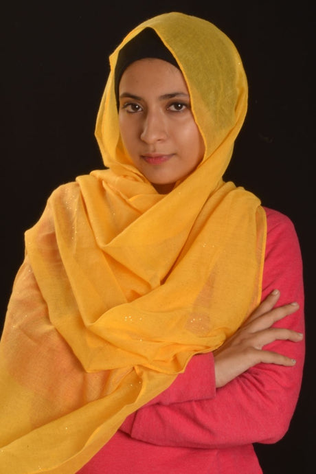 Yellow Hijab with Glitters