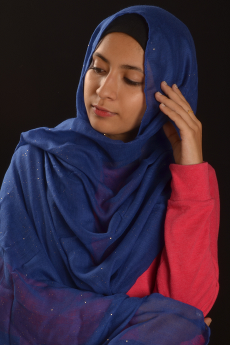 Royal Blue Hijab with Glitters