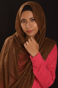 Brown Hijab with Glitters - Fakhur
