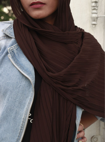 Chocolate  Knife Pleated Hijab - Fakhur