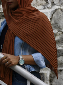 Burnt Orange Knife Pleated Hijab - Fakhur