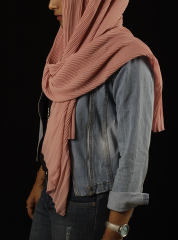 Flamingo Pleated Hijab - Fakhur