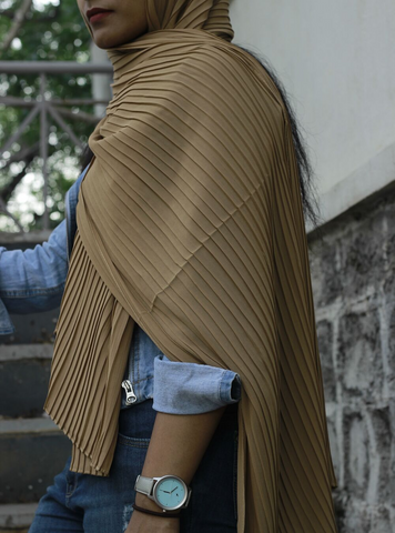 Wheat Knife Pleated Hijab - Fakhur