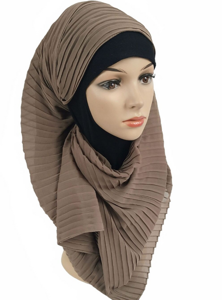 Coffee Brown Knife Pleated Hijab - Fakhur