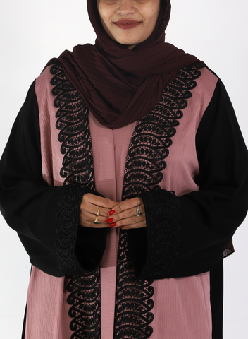 Crinkle Rose and Black Abayas with Lace( Front Open)