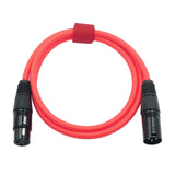 Microphone Cable Cords - XLR Male to XLR Female Color Cables Red
