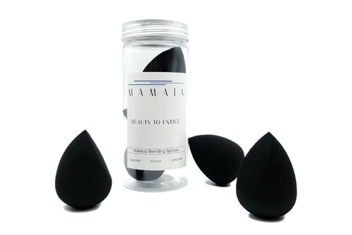 Makeup Blending Sponge - Black, 3pc Set