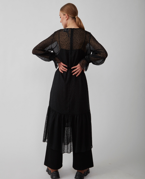 Just Female Lula Maxi Dress. Black semitransparent dress with a dotted pattern. Long voluminous sleeves with a flare cuff. Perfect for the holiday season.