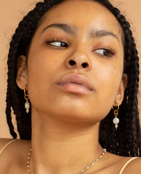 YAM Pearl Drop Hoop Earrings