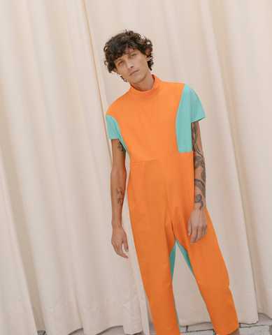 NIN STUDIO Space Pocket Jumpsuit / Orange & Aqua