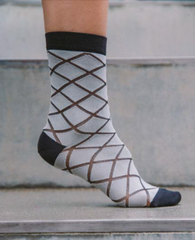 HENRIK VIBSKOV Checked Femme Socks / White Checks