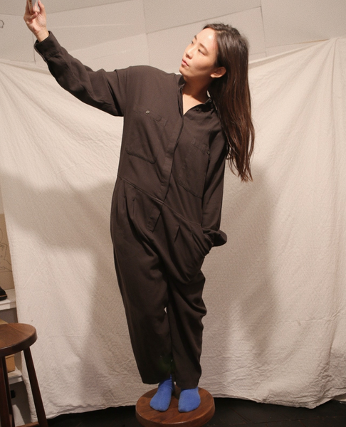 BLACK CRANE Carpenter Jumpsuit / Dark Grey