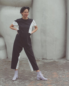 NIN STUDIO Space Pocket Jumpsuit / Black & White