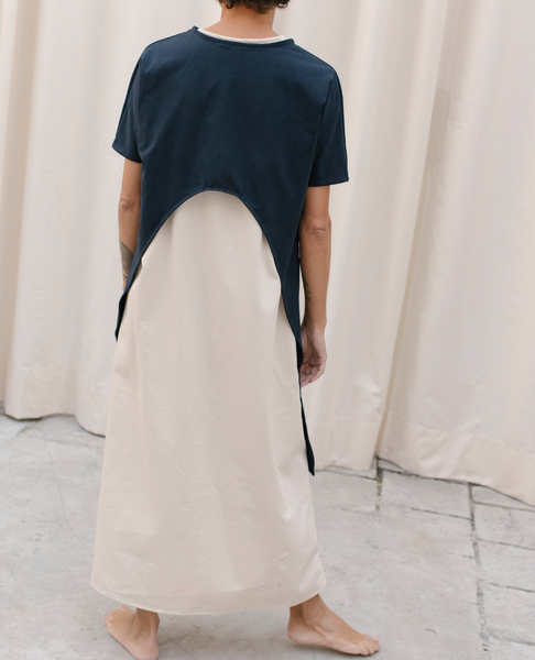 NIN STUDIO Tunic Double Dress / Navy & White