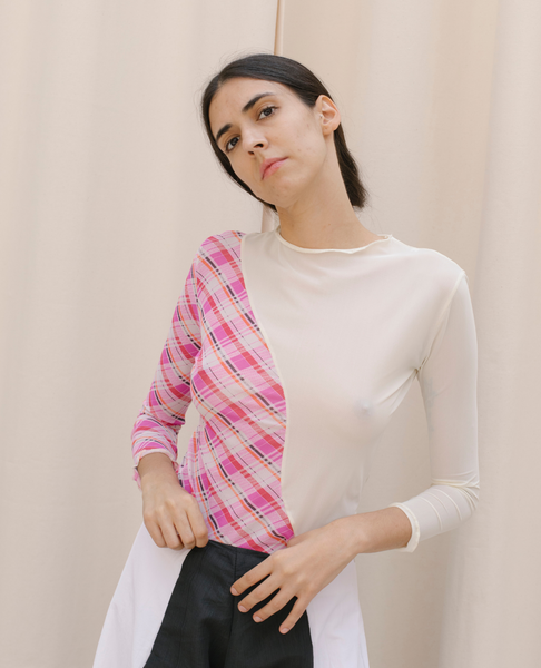 NIN STUDIO Swirl Top / Plaid Dreams