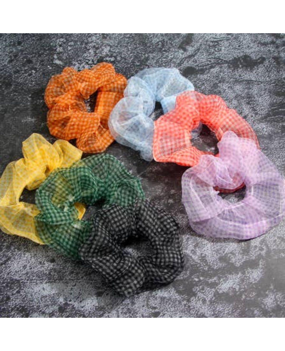 RAINBOW Zoe Chiffon Scrunchie / Black