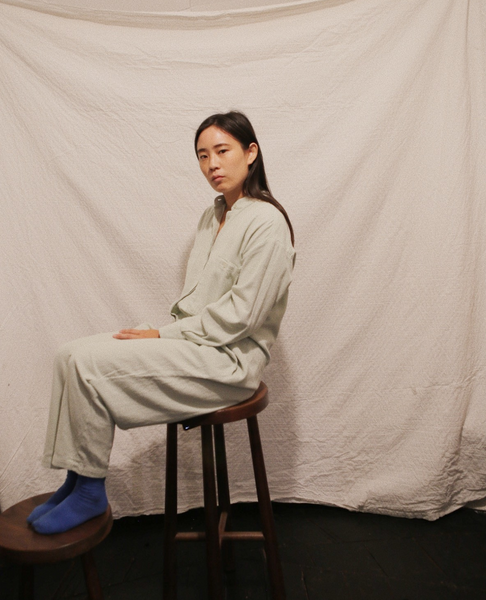 BLACK CRANE Carpenter Jumpsuit / Sage