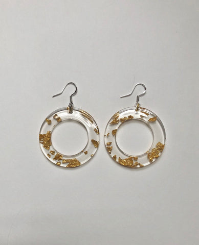 WE COME IN PEACE Peace Earrings / Clear & Gold