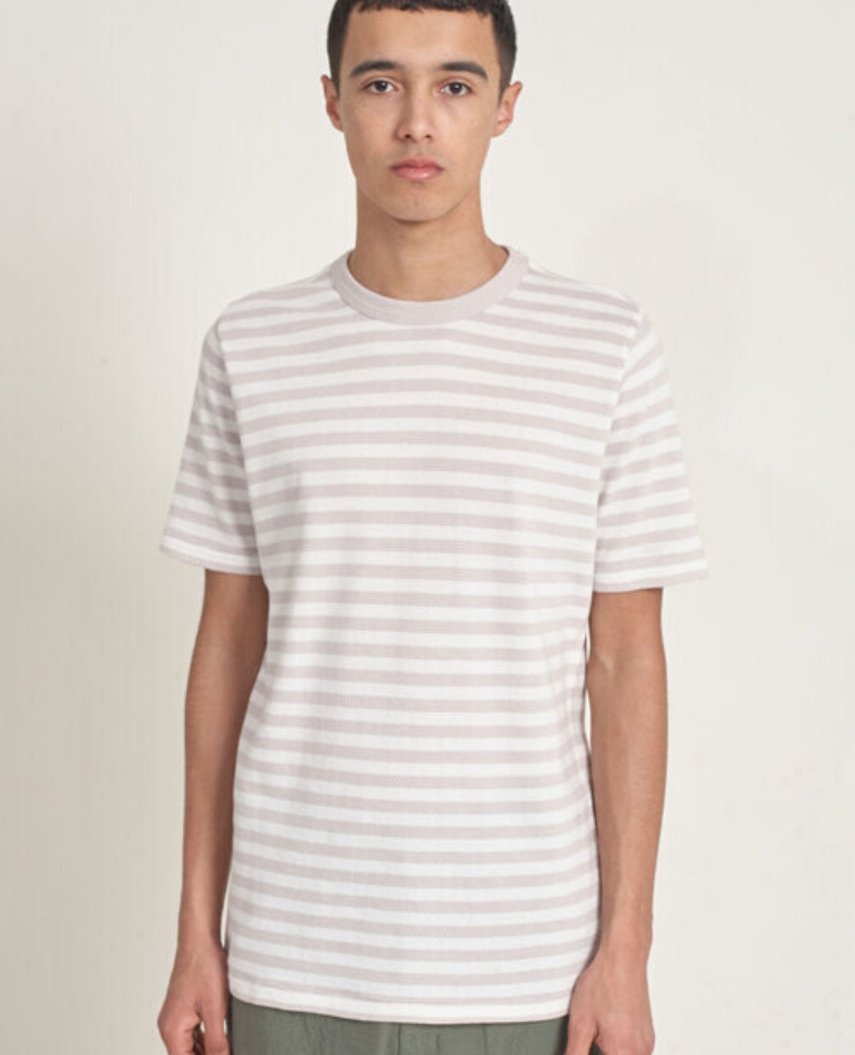 LES BASICS Crew Tee / Grey Stripe