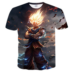 3D Short Sleeve Dragon Ball Super Saiyan T-Shirt Cosmic Super Warrior
