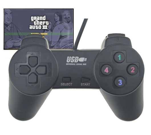 Black Wired USB Gamepad Joystick