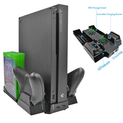 X Box ONE X Game Console Vertical Cooling Stand Cooler Fan Controller Charger with 2 HUB Port 6pcs Discs Storage Holder