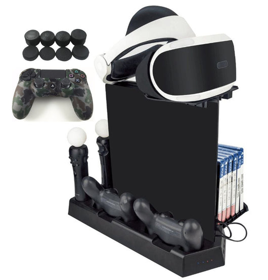 PS4 Vertical Stand Cooling Fan Controller Move Charging Dock Station Kit for PS4 Slim/PS4 Pro Console Game Storage,Tray for PSVR