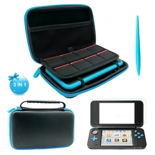 Storage Carry Case+2 Screen Protective Films & 1 Stylus 8 Game Cards Storage Travel Bag for Nintend New 2DS XL/LL Console