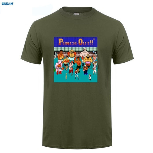 GILDAN  PUNCH OUT Retro Classic Video Game Men's Black T-Shirt