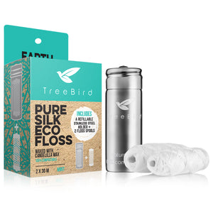 Pure Silk Eco Floss (Stainless Steel Dispenser + 2 Floss Spools)