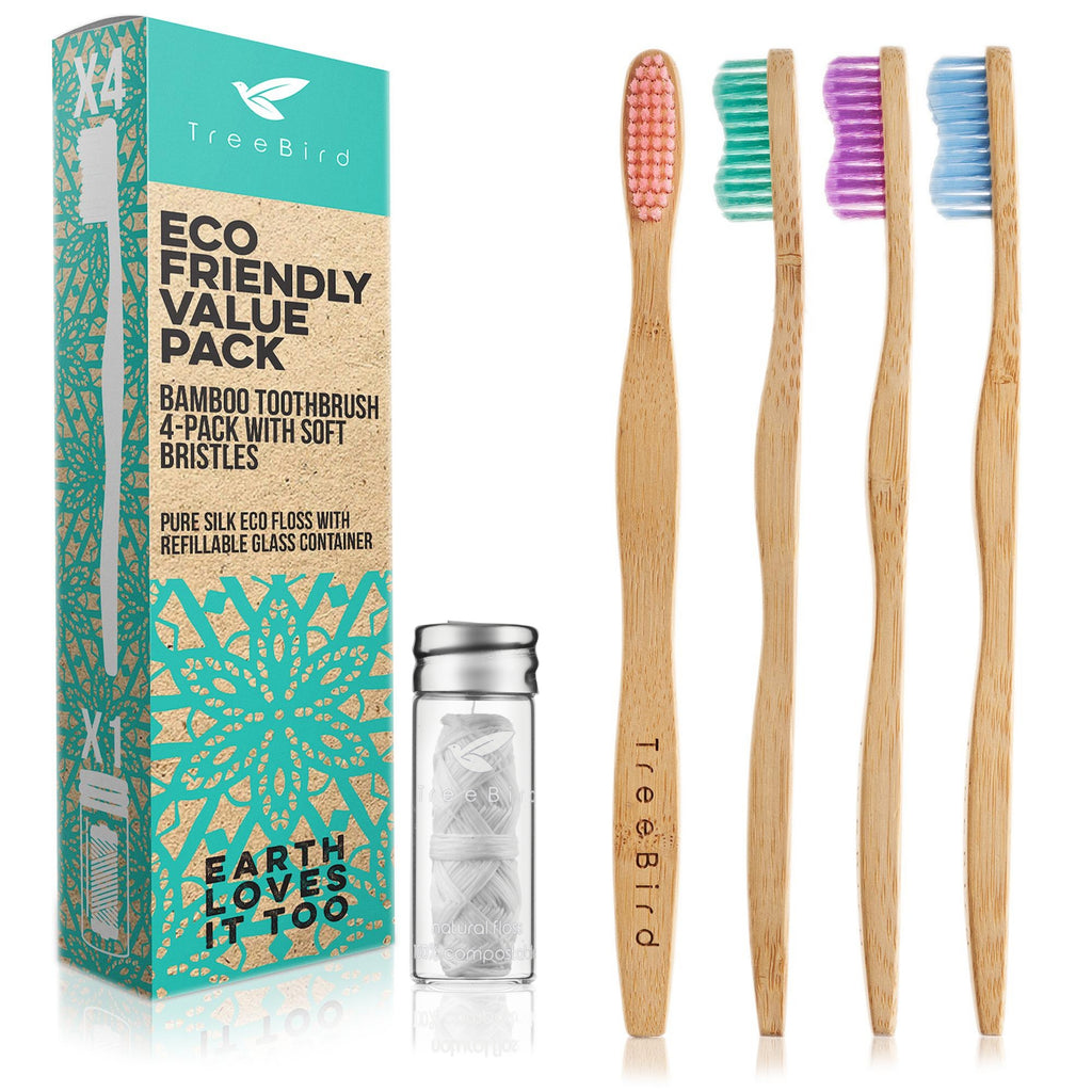 Bamboo Toothbrush & Silk Floss Value Pack